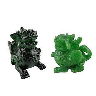 陶瓷精品綠色麒麟神獸變色樹脂茶寵