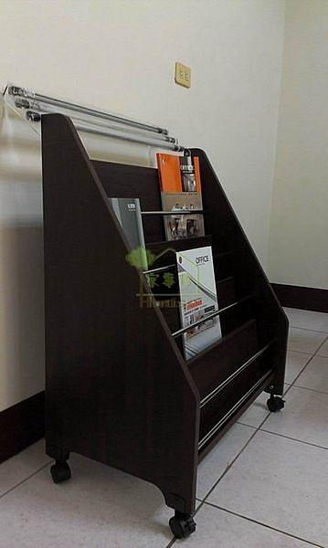 [家事達] GE -B801階梯式木製四層書報架 雜誌架(附報夾)