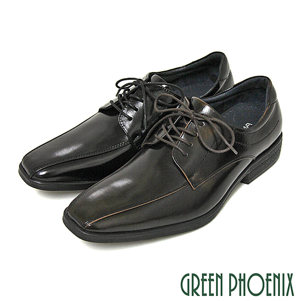 GREEN PHOENIX 波兒德 亮面俐落線條綁帶全真皮商務 紳士皮鞋 男鞋 T9-19370