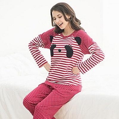睡衣(套裝)-長袖可愛熊貓條紋純棉女休閒服71m25【時尚巴黎】