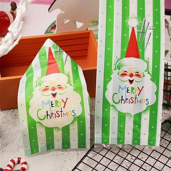 【BlueCat】聖誕節HI綠白底翹眉毛老人平口袋 糖果袋 禮物袋 (1入)