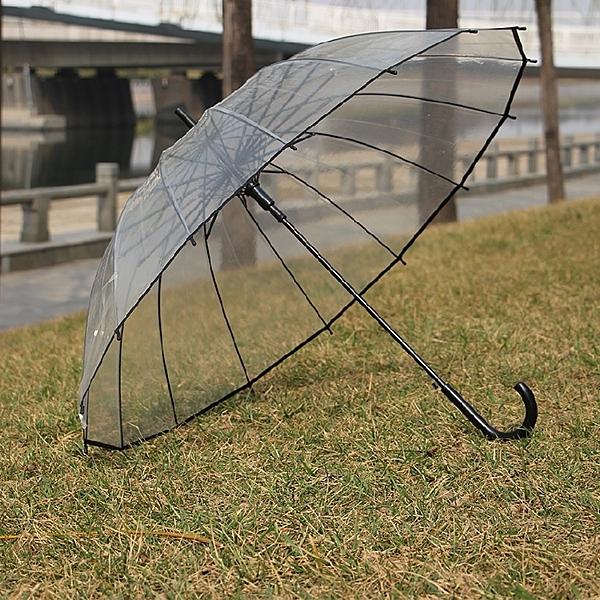 雨傘 16骨透明雨傘小清新直長柄傘加厚環保創意男女學生個性情侶傘果果輕時尚NMS
