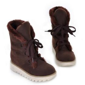 [Kg8d] 厚底 スノーブーツ レディース ボアもこもこ ふわふわ 綿靴 雪靴 防寒 防滑 保暖 ブーツ カジュアル 軽量 ブラウン おしゃれ ウィンターブーツ レースアップ 23.0cm ハイカット ショートブーツ 大きいサイズ