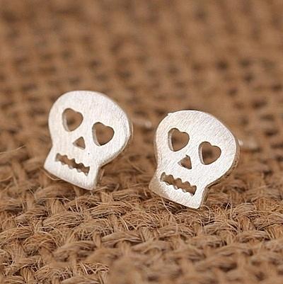 925純銀耳環 (耳針式)-潮流骷髏頭生日母親節禮物女飾品73ag213【巴黎精品】