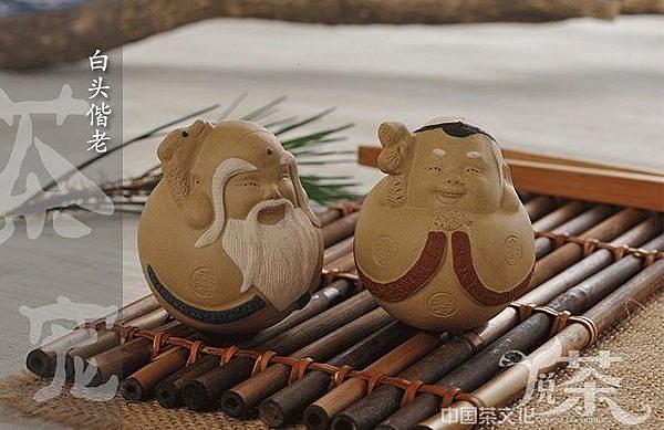 紫砂壽公壽婆茶寵 天長地久雕塑  擺件(一對)