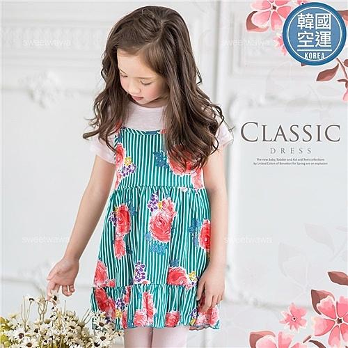 韓國童裝~水彩玫瑰直條紋假兩件傘狀洋裝(250680)★水娃娃時尚童裝★