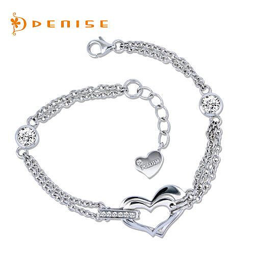 手鍊 925純銀「心連心手鍊」銀飾禮品/情人禮物