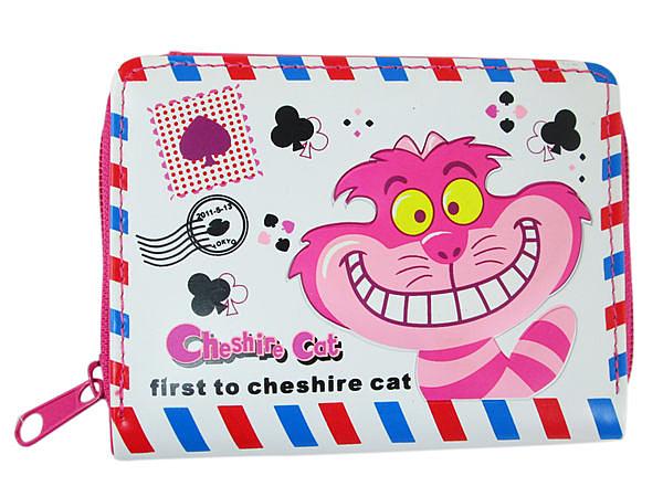 【卡漫城】 妙妙貓 皮夾 ㊣版 Cheshire 扣式 吸鐵 愛麗絲 夢遊仙境 內附 零錢包 短夾 二折