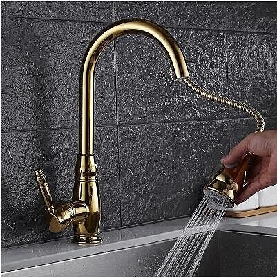 金色水龍頭抽拉伸縮花灑噴頭雙出水態廚房龍頭