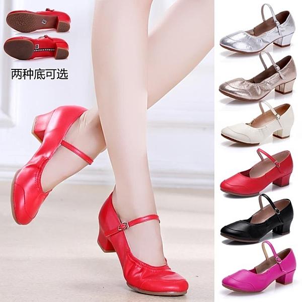 夏季軟底廣場舞女士新款舞蹈鞋紅色中跟跳舞鞋交誼舞金銀演出舞鞋