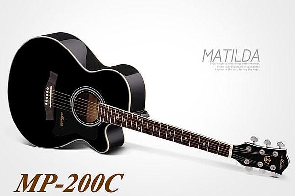 小叮噹的店 - 全新 MATILDA MP200C 黑色 英格曼雲杉木吉他 全配附調音器+琴袋
