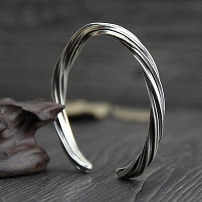 純銀手環(泰銀)-獨特扭紋生日情人節禮物女手鐲73gg1【時尚巴黎】