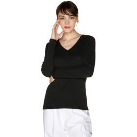 [ユナイテッドカラーズオブ ベネトン] トップス コットンVネック袖ロゴ刺繍ロングTシャツ・カットソー レディース ブラック S (国内M相当)
