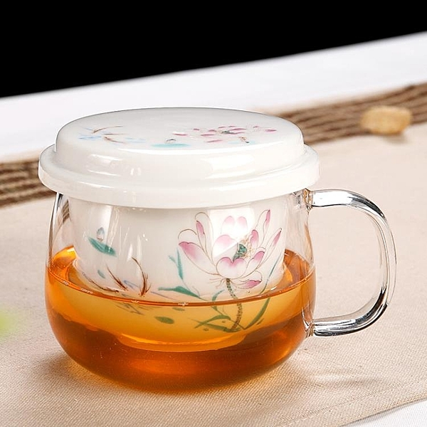 耐熱玻璃泡茶杯帶蓋帶把陶瓷過濾內膽茶水分離辦公室男女花茶保溫杯【八折搶購】