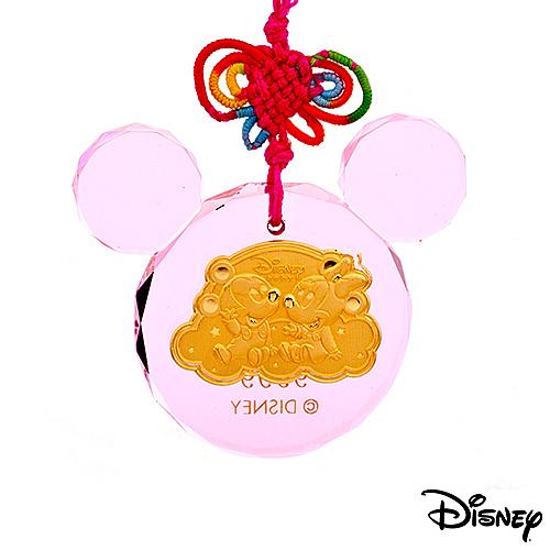 Disney迪士尼金飾 金報喜 黃金/水晶鎖片