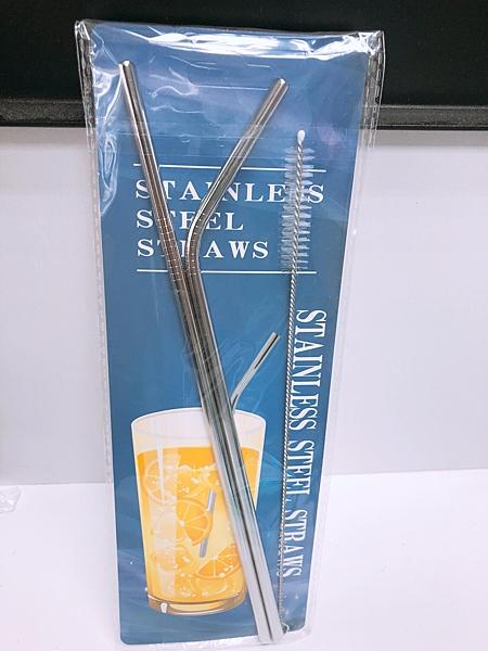 買一送二 304不鏽鋼環保彎管吸管果汁攪拌棒  附專用清潔刷