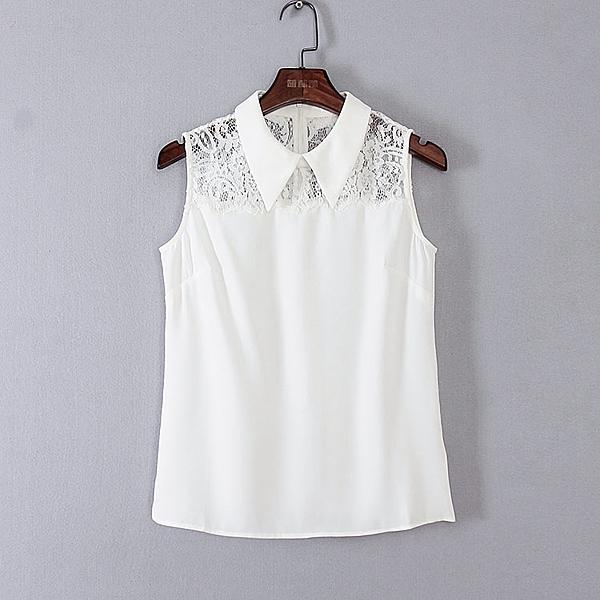 [超豐國際]面春夏裝女裝白色蕾絲拼接無袖雪紡衫 44964(1入)