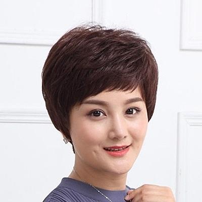 短假髮(真髮)-熟齡微捲蓬鬆逼真女假髮73uu35【時尚巴黎】