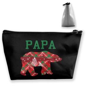 クリスマスパパベア 収納バッグ 小物整理 梯形収納バッグ 収納袋 大容量 多機能ポーチ 化粧品ポーチトラベルポーチ ガジェットポーチ 旅行 グッズ 収納ポーチ