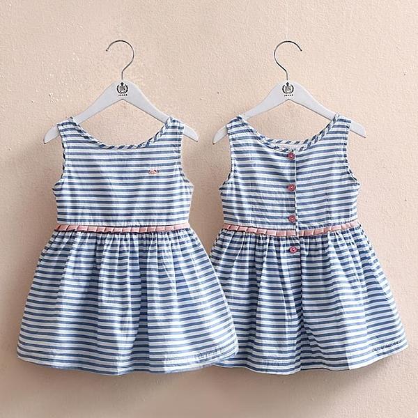 寶寶條紋背心裙 2018夏裝新款正韓女童童裝 兒童洋裝子qz-3350   年終大促