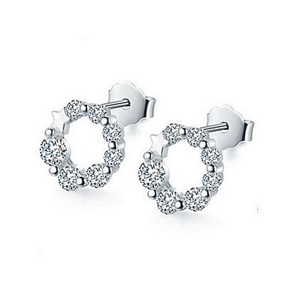 925純銀耳環 鑲鑽(耳針式)-復古時尚生日母親節禮物女飾品73ag208【巴黎精品】