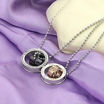 鈦鋼項鍊(一對)-愛心鑲鑽生日情人節禮物男女對鍊2色73cl81【時尚巴黎】