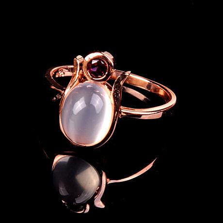 水晶月光石戒指 晶體透徹