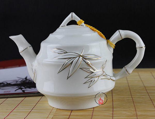 泡茶壺陶瓷 手繪描金