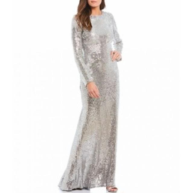 タダシショージ Tadashi Shoji レディース パーティードレス ワンピース・ドレス stretch sequin lace long sleeve gown Silver