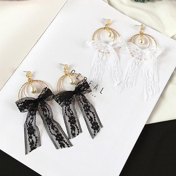 [協貿國際]超仙淑蕾絲蝴蝶結氣質珍珠長款耳環甜美耳飾1入