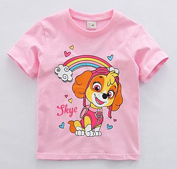 女Baby女童短袖T恤粉色旺旺隊純棉T恤春夏上衣現貨  出口歐美品質