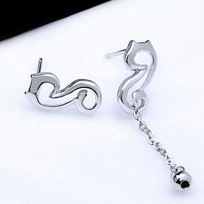925純銀耳環 (耳針式)-經典創意音符生日母親節禮物女飾品73ag209【巴黎精品】