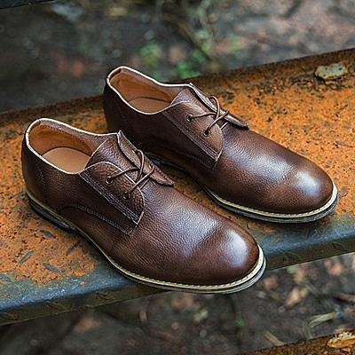 短靴真皮-繫帶英倫時尚紳士品味男靴子2色73kk35【巴黎精品】