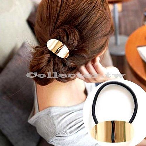 【超取399免運】韓國流行髮飾-簡約金屬圓弧髮圈 韓版髮飾髮圈