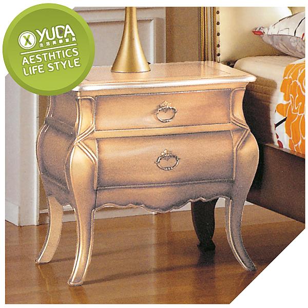 床頭櫃【YUDA】羅登 法式香檳色床頭櫃  床頭櫃/床邊櫃/床邊箱 J8F 009-1