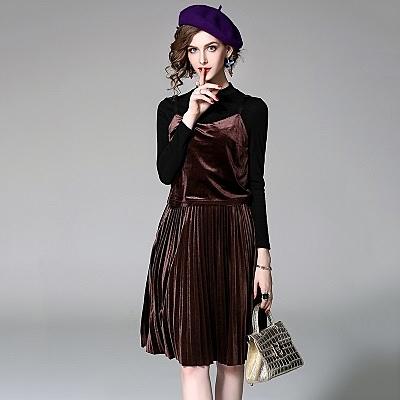 洋裝(兩件套)-細肩帶金絲絨純色圓領上衣百褶女連身裙3色73of56【巴黎精品】