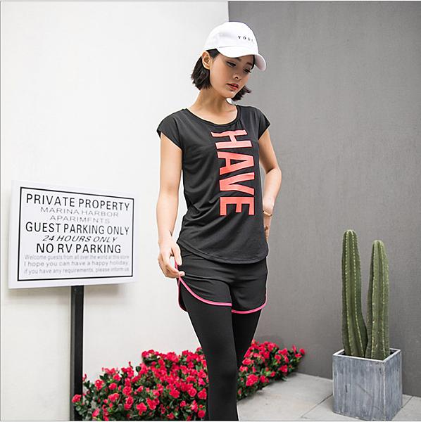 瑜珈服 運動上衣 運動服 速乾 透氣 T恤 字母印花 運動用品 跑步 健身 休閒服 短T
