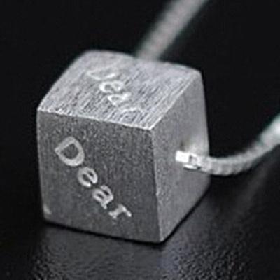 925純銀項鍊-方塊造型獨特唯美百搭女墜子銀飾73y45[巴黎精品]