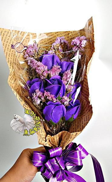 [手作 紫色香皂花+乾燥花花束] 婚禮捧花 婚禮小物 生日禮物 求婚花束 畢業花束
