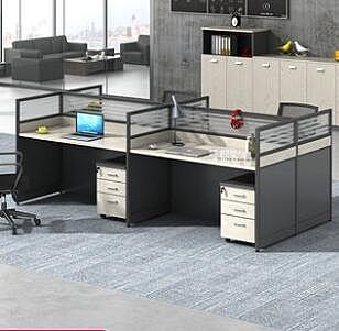 辦公桌 簡約現代職員2/4/6人位四人位屏風職員桌椅卡座組合員工桌xw
