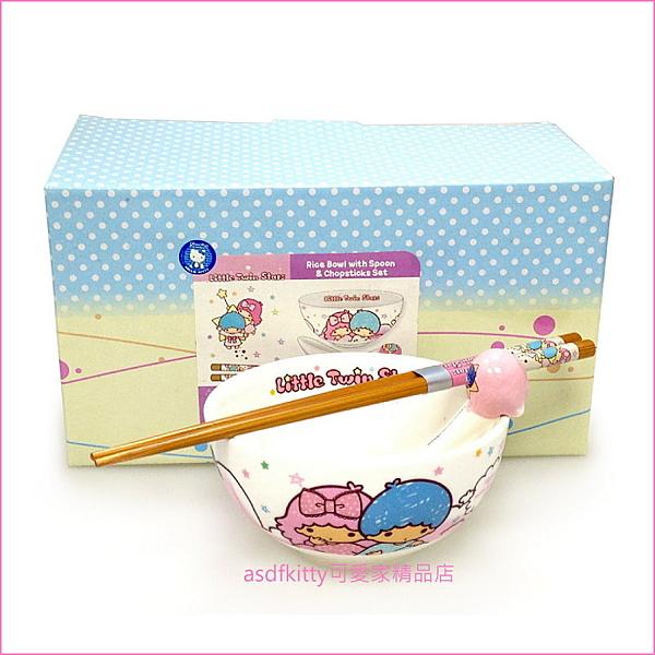 asdfkitty可愛家☆雙子星魔法版陶瓷餐具組(碗 湯匙 木筷)-香港正版商品