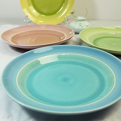 陶瓷餐盤(任兩款)-冰裂釉8寸糖果色圓盤創意西餐盤4色73h13【時尚巴黎】