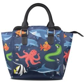 海タコサメイルカクロスボディバッグレザーハンドバッグサッチェル財布メイクアップトートバッグ女性用女の子