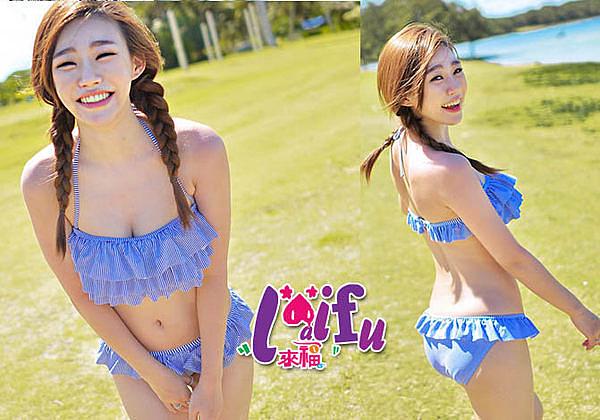 來福妹,C11206藍細條紋游泳衣泳裝比基尼,售價750元
