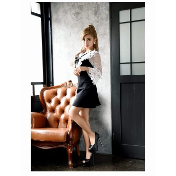 (リューユ)Ryuyu キャバ ドレス キャバドレス キャバクラ キャバワンピース パーティードレス Ryuyu キャバクラドレス リボンブローチ ミニ丈 Aライン 505589 M(130) ブラック(100)