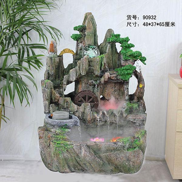 假山流水噴泉工藝品 水車風水輪
