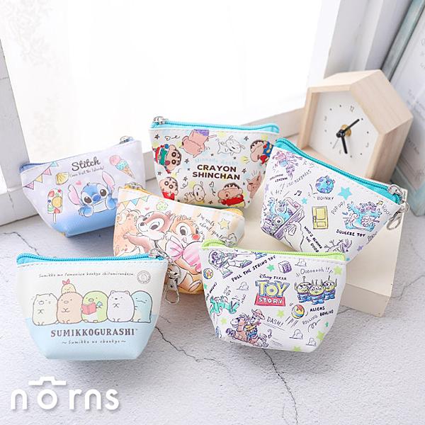 【日貨皮革T型零錢包 附鎖圈】Norns SAN-X正版 日本進口 角落生物 迪士尼 船型小物包 收納包