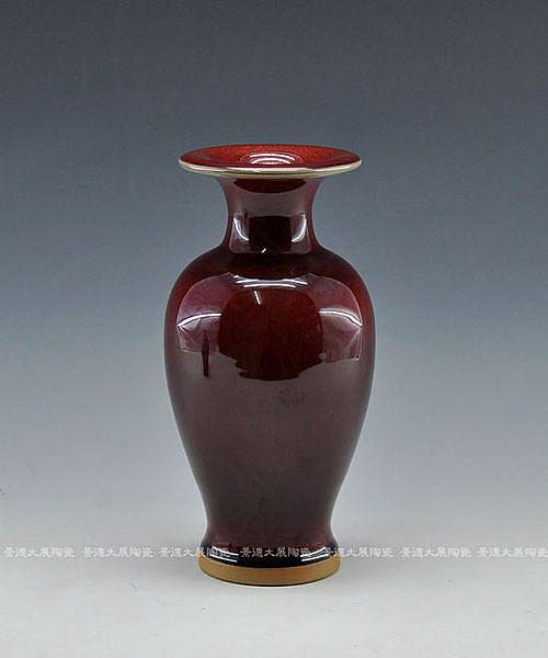 陶瓷鈞瓷祭紅釉花瓶