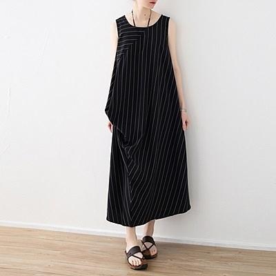 洋裝-長款寬版條紋不規則下擺無袖女連身裙73sm47[巴黎精品]