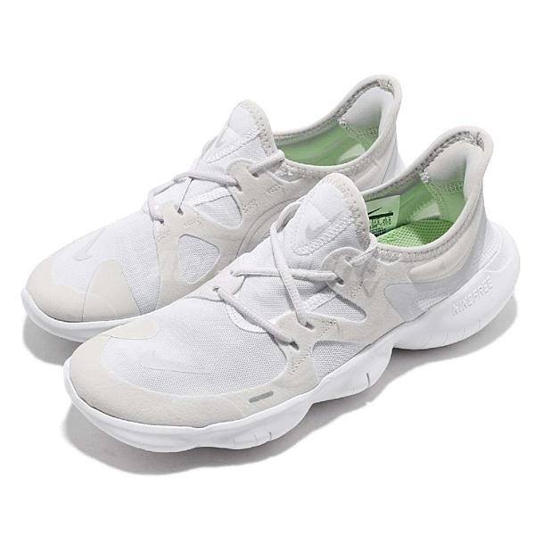 Nike 慢跑鞋 Free RN 5.0 灰白 白 女鞋 赤足 襪套式 運動鞋 【ACS】 AQ1316-002